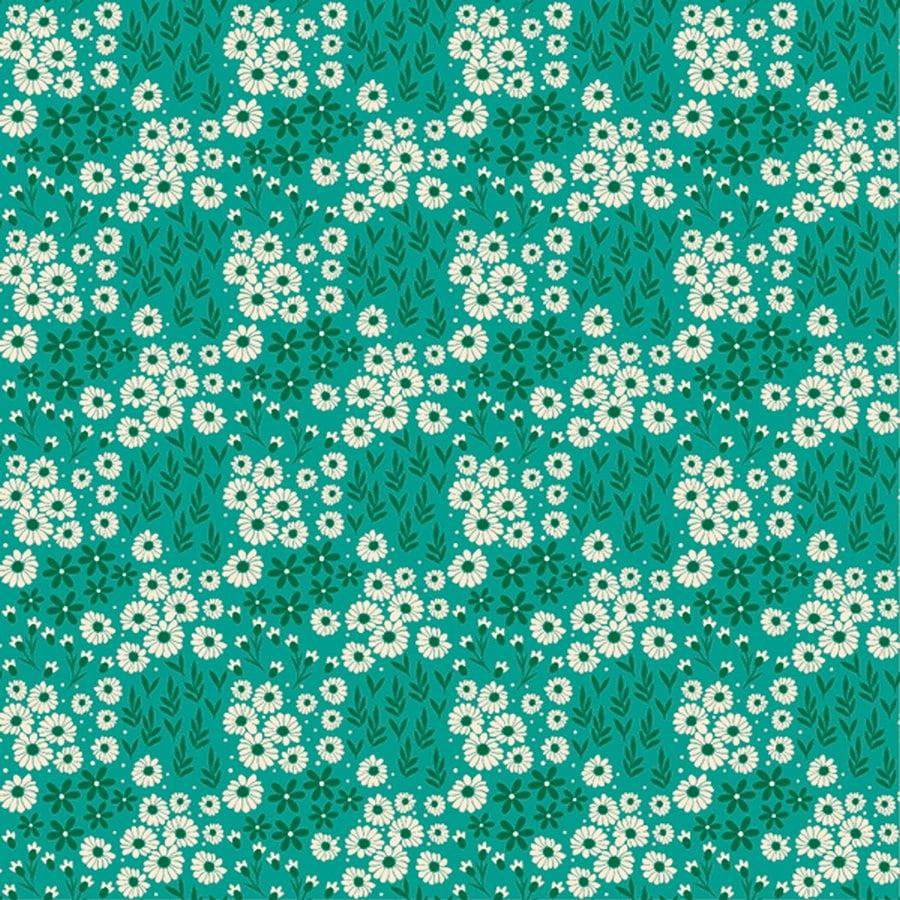 Tecido Tricoline Estampado Mini Floral e Folhagem Fundo Verde 2016v04