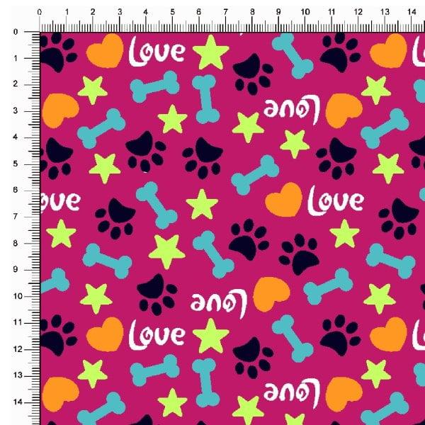 Tecido Tricoline Estampado Patinhas Love Fundo Pink 5367v05