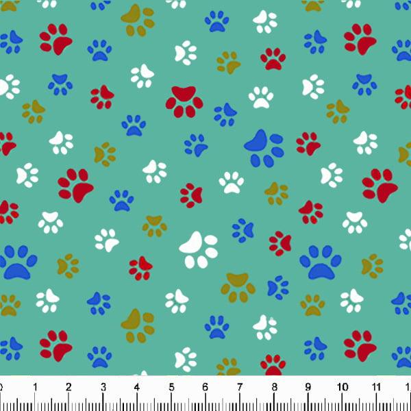Tecido Tricoline Estampado Patinhas de Cachorro Coloridas Fundo Verde Claro 5340v09