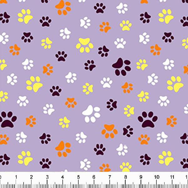 Tecido Tricoline Estampado Patinhas de Cachorro Coloridas Fundo Lilás 5340v13