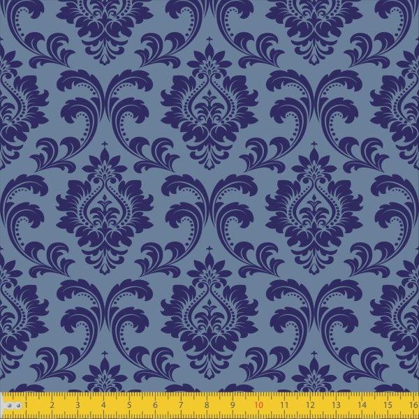 Tecido Tricoline Estampado Realeza Azul Must Have 1254v02