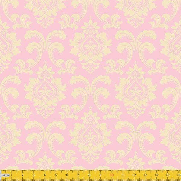 Tecido Tricoline Estampado Realeza Rosa Must Have 1254v09