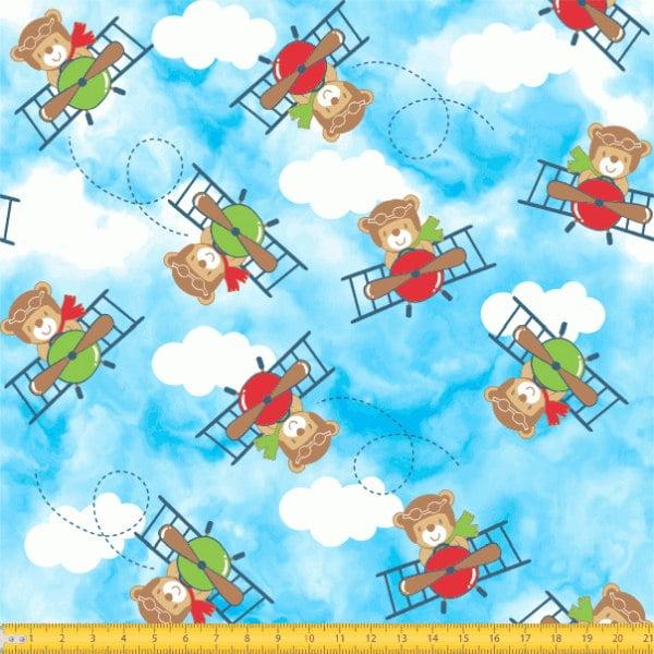 Tecido Tricoline Estampado Urso Piloto Azul 6235v01