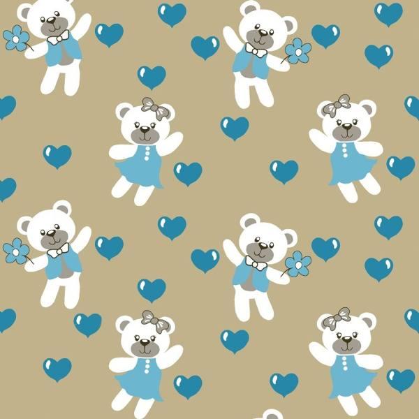 Tecido Tricoline Estampado Ursinhos e Corações Azul 2675v2