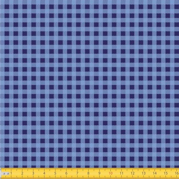 Tecido Tricoline Estampado Xadrez Pequeno Azul Royal 1552v05