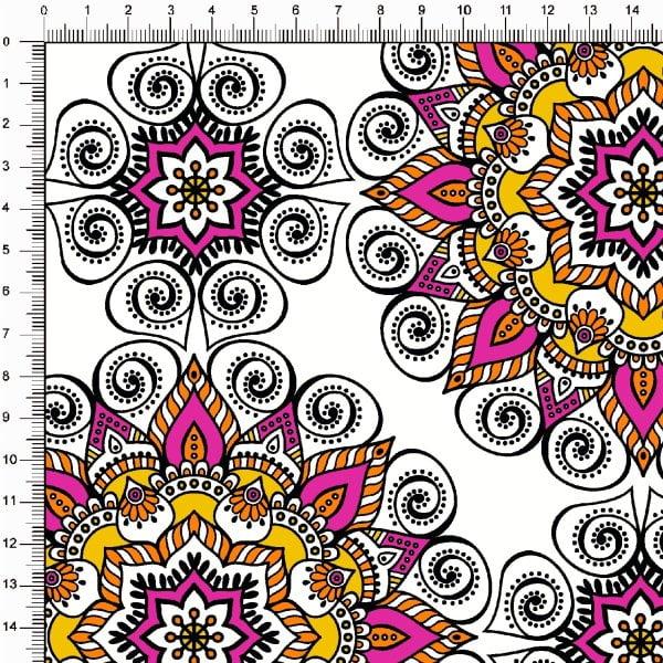 Tecido Tricoline Estampado Mandalas Arabesco Branco 5376v02