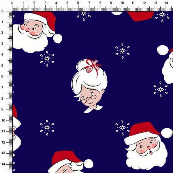 Tecido Tricoline Natalino Mamãe e Papai Noel Fundo Marinho 5359v04