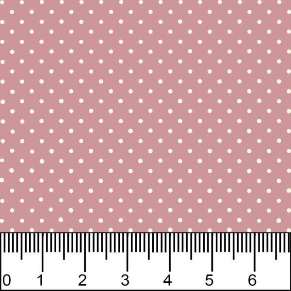 Tecido Tricolone Estampado Bolinha Bege Mini Micro Fundo Rosa Seco 1002v130