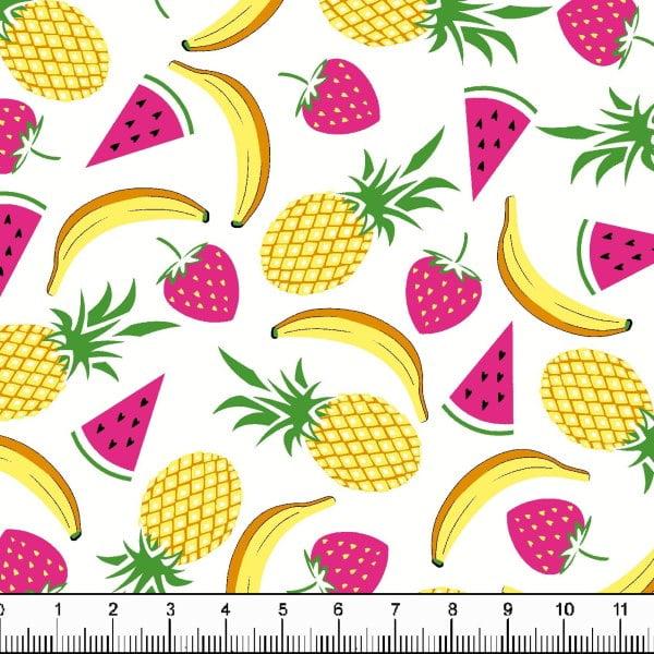 Tecidos Tecido Tricoline Estampado Salada de Frutas Fundo Branco 6359v01