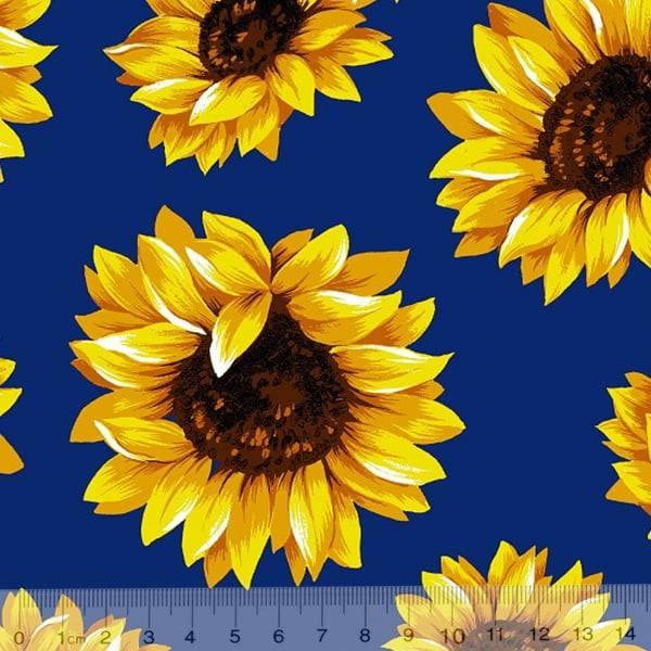 Tricoline Estampado Floral Girassol Fundo Azul Royal 6410-3