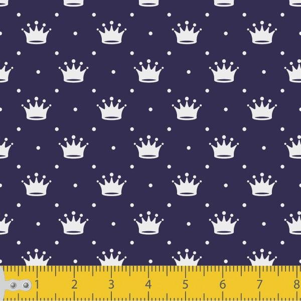 Tricoline Estampado Mini Coroa  Fundo Azul Marinho 1143v605