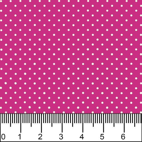 Tricoline Estampado Mini Micro Poá Branco Fundo Rosa Pink 1002v108
