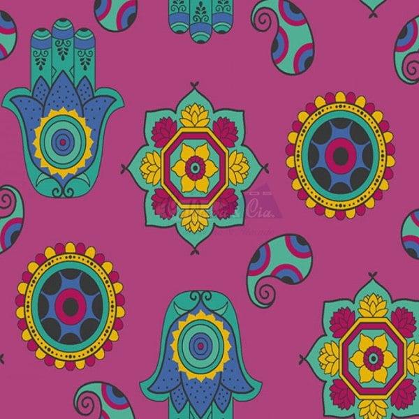 Tricoline Estampado Talismã Fundo Rosa 200613v03